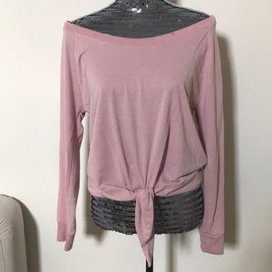 Sweaters - Pink Tie Waist Sweater